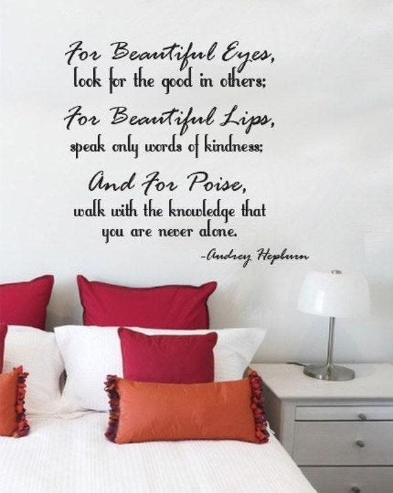 Wall Decal For Beautiful Eyes Beautirul Lips  AUDREY HEPURN Vinyl Wall Art