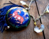 Elegant Cloisonne Unicorn Tasseled Necklace Recycled Upcycled  Crystal Magical Tassel Statement