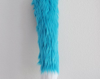 Faux Fur Fox Tail - Teal - Cosplay / Furry / Costume