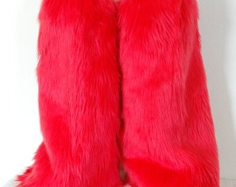 Red Monster Leg Warmers / Fluffies / Boot Covers - Cosplay / Furry / Animal / Rave