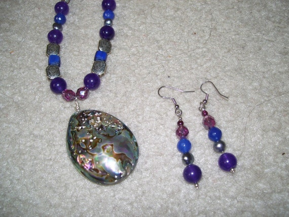 Abalone, gemstones, freshwater pearsl, sterling silver necklace and earrings