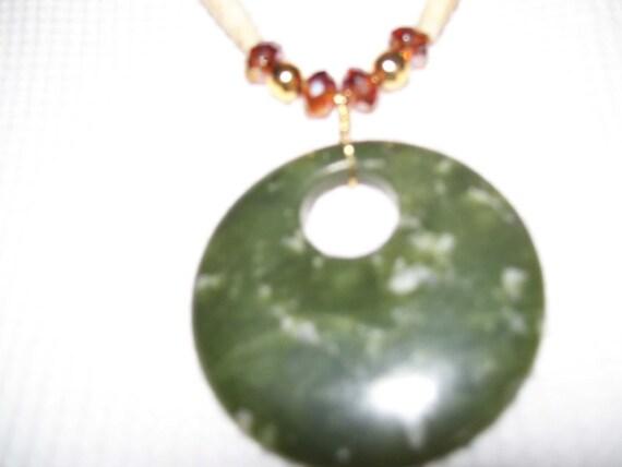Native American made, Green Jade Pendant Necklace, bone hairpipe, jade, epidote necklace