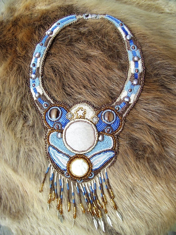 Native American Jewelry, Winter flight of the Owl bead embroidered statement necklace (OOAK)