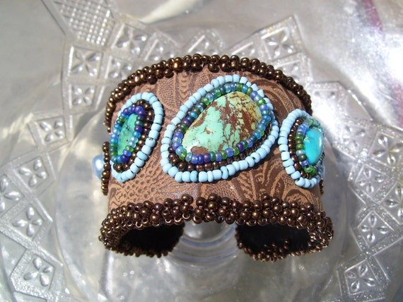 Native American made, Earthy turqouise bead embroidered cuff bracelet