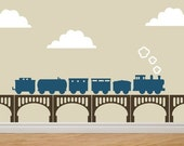 TRAIN and BRIDGE Kit Vinyl Sticker Decals Original Removable Graphics by DECOmod Walls