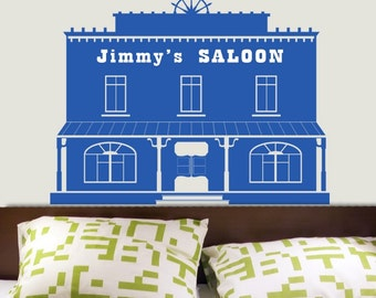 CUSTOM name Western Town Saloon Vinyl Decals Stickers ORIGINAL GRAPHICS by DECOmod Walls
