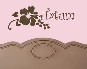 CUSTOM NAME HIBISCUS Flower Vinyl Decal Sticker Original Graphics by DECOmod Walls