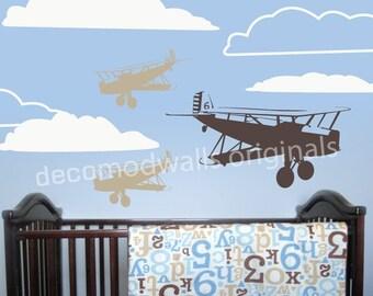 Airplane Biplane Vinyl Lettering Decal Original Graphics by Decomod Walls