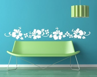 Hibiscus Floral Beach Border Vinyl Decal Graphics by Decomod Wall 80 inches wide