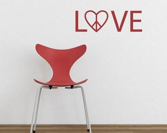 LOVE Heart PEACE SIGN Vinyl Wall Decal Graphic Tattoo  Designs by DecoMod Walls