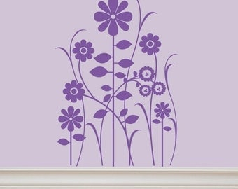 Flower Patch Vinyl Wall Decal Lettering by Decomod Walls 32X22