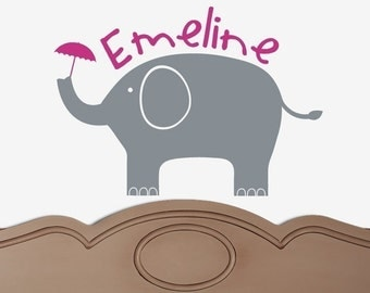 Modern Elephant CUSTOM NAME GIRL Vinyl Wall Decal Original Graphics by DecoMOD Walls