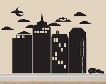 Gotham City Batman Vinyl Decal Sticker Original Graphics by DECOmod Walls