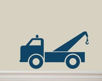 Tow Truck Vinyl Lettering Wall Decal Original Graphics by Decomod Walls