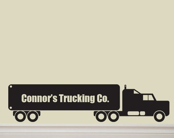 Custom Semi Truck with your NAME Vinyl Decal Lettering Sticker 12X54
