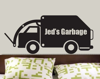 Custom Name Garbage Truck Vinyl Wall Decal  Graphics by DECOmod Walls