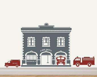 Fire Station / Fire House Fire Trucks Vinyl Sticker Decal Original Graphic by DECOmod Walls