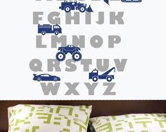 Vehicle Alphabet Childrens Decor Vinyl Wall Decal Graphic