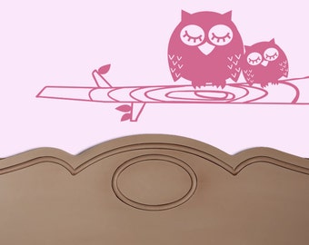 OWL Mom and BABY modern 36 X 15  Vinyl Wall Decal Original Graphics by DecoMOD Walls