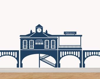 Train Station Custom Vinyl Sticker Decal Original Graphic by DECOmod Walls