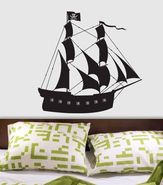 Pirate Ship custom vinyl wall decal by DECOmodwalls