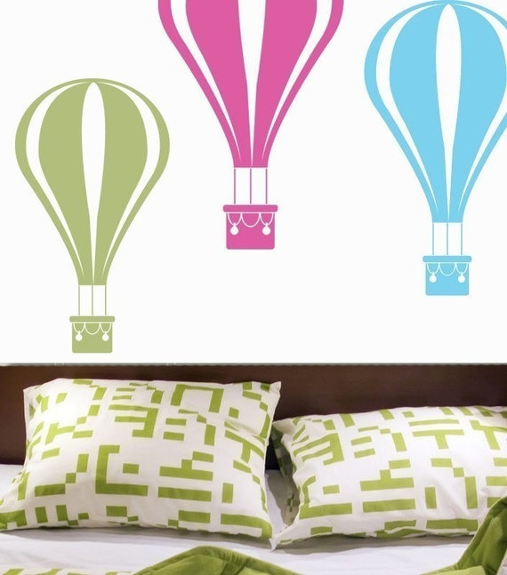 Hot Air Balloon Custom NAME Personalized Vinyl Wall Decal by DECOmod Walls