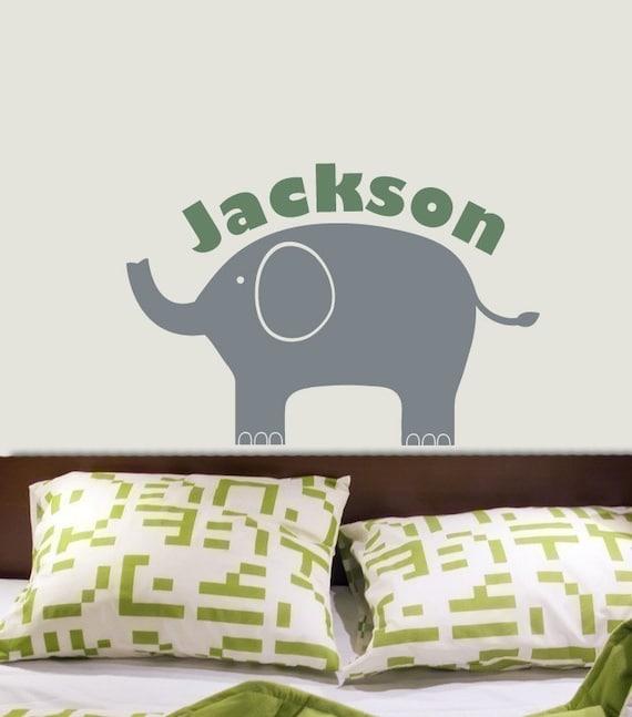 ELEPHANT Decal CUSTOM BOY NAME Vinyl Wall Graphic Original Design by DecoMOD Walls