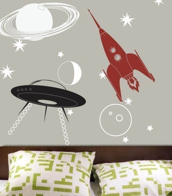 Ufo rocket saturn outer space vinyl decal kit free for Outer space vinyl wall decals