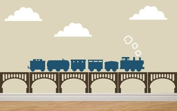 Train and Bridge Wall Decal by decomodwalls