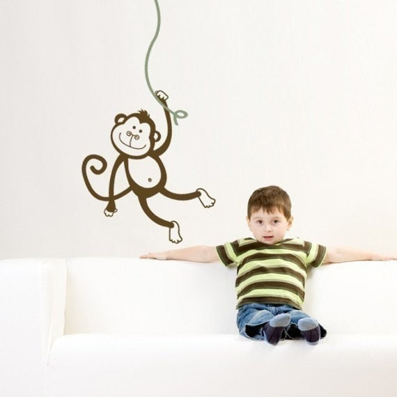 MONKEY swinging from a tree Vinyl Wall Decal Sticker ORIGINAL graphics by DecoMOD Walls