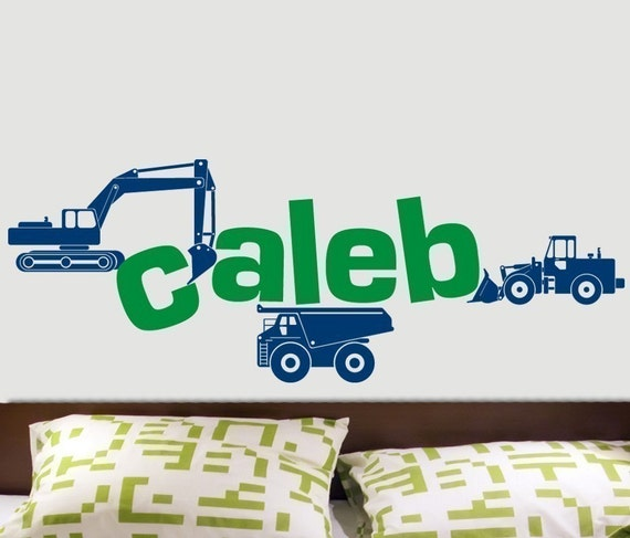 CUSTOM NAME Construction Trucks and Letter BULLDOZERS Vinyl Sticker Decal Original Graphic by DECOmod Walls