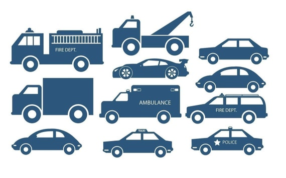 Car and Truck kit tons of cars and trucks decals vinyl Wall Graphic by DECOmodwalls