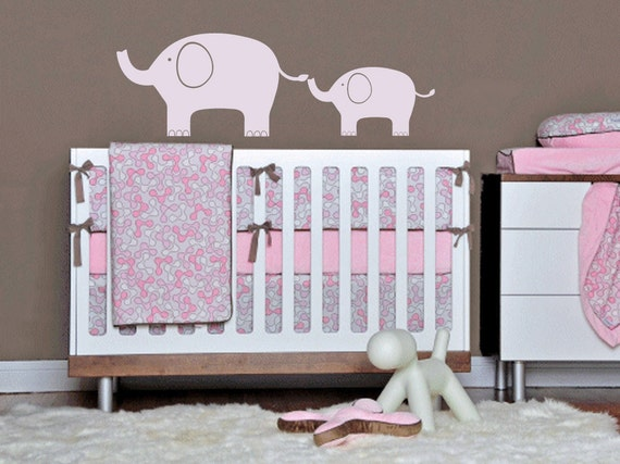 ELEPHANT Mom and BABY modern 36 X 15  Vinyl Wall Decal Original Graphics by DecoMOD Walls