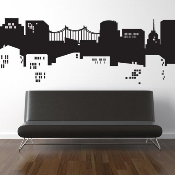 NYC Gotham City Batman or Spiderman Vinyl HUGE Decal Sticker Original Graphics by DECOmod Walls