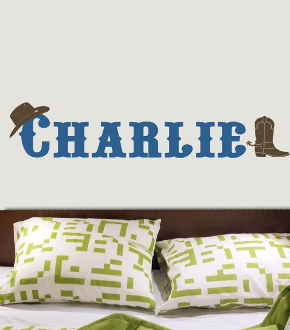 CUSTOM COWBOY NAME or last name Western Boot and Cowboy Hat Vinyl Wall Decal Original Graphics by DECOmod Walls