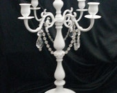 Accessory White Cottage Chic Victorian Brass Crystal Candle-holder Candelabra