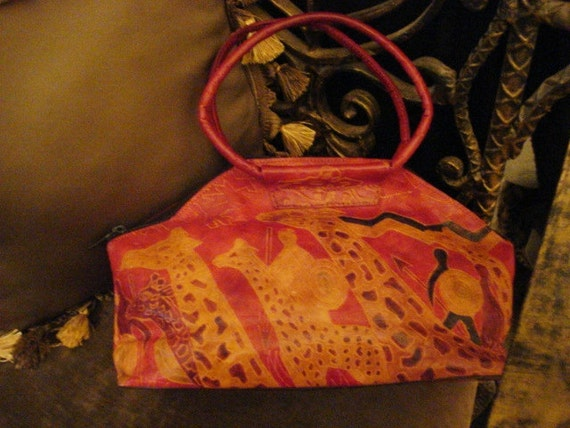 Red Leather Wearable Art Vintage Ethnic Bohemian GIRAFFE Handbag Purse