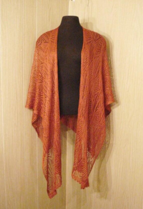 Burnt Umber Boho Gypsy Hippie Vintage Crochet Cape Wrap Shawl Scarf OS