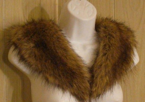Plush Vegan Vintage Faux Fur Brown  Racoon Collar Scarf Shawl Fur Stole OS