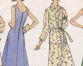 Plus Sized 70s Maxi Dress Pattern, Simplicity 6999 Bust 44 70s Vintage Dress and Jumper and Shirt