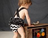 Black and white chevron stripe vintage-inspired sun suit romper.