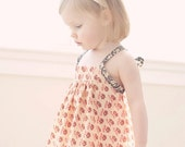 Quince -  Limited edition sundress in cream and red repro print with vintage crochet detail