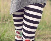 Girl's black and white stripe leggings, jersey knit with cameo knee patches - Appolonius leggings,  12m/18m, 2T, 3T, 4T, 5, 6, 8, 10, 12