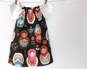 Small Matryoshka - Peasant dress in Kokka import with white raglan sleeves - Sizes 6m, 12m, 18m, 2T, 3T, 4