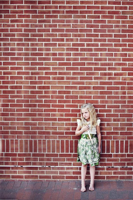 Grassland 2 piece set - high waisted skirt and cream stripe knit blouse - 12/18m, 2T, 3T, 4, 5, 6, 8, 10, 12