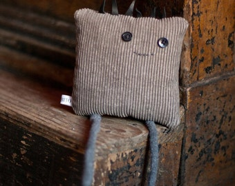 Sale!***Square Dude plush toy in Gray Corduroy
