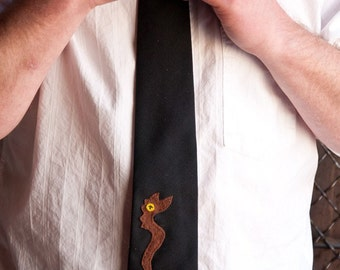 Monther Tie in Black with Brown Snake Applique