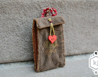 SALE!** Phone Protector pouch Small Pocket Wallet for Ipod or Smartphone Embroidered by hand
