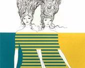 TWINS ENTANGLED Screenprint, Hand-printed, Limited Ed.