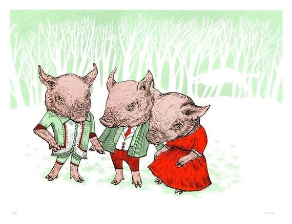 3 Little Pigs Screenprint, Limited-Ed, handprinted